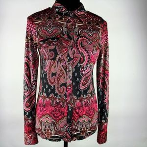 NWOT BCBGMaxAzria Paisley Striped Snap Up Top